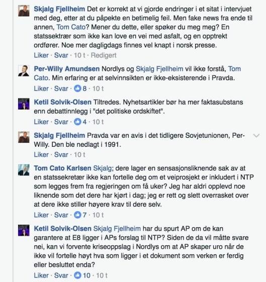 Fra Facebook-debatten om Frp, Nordlys og «Pravda».