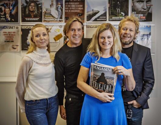 Dette er noen av dem som står bak Magasinet. På bildet, fra venstre: Reportasjeleder Maiken Nøtsund Fotland, AD i Magasinet Christian Grønvold, magasinredaktør Karine Østtveit - og leder av Magasinet Espen Sandli.