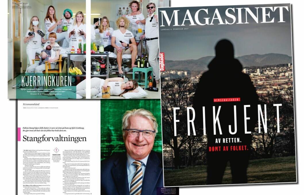 Noen av sidene fra Dagbladets relansering av «Magasinet» denne helga.