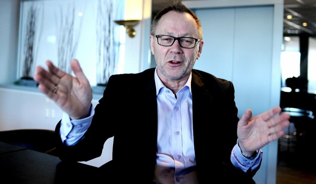 Dette kunne handlet om den største fisken på Porsangerfjorden, men er altså Dagbladets sjefredaktør som prøver å forklare hvilken framtid han tror på for mediehuset.