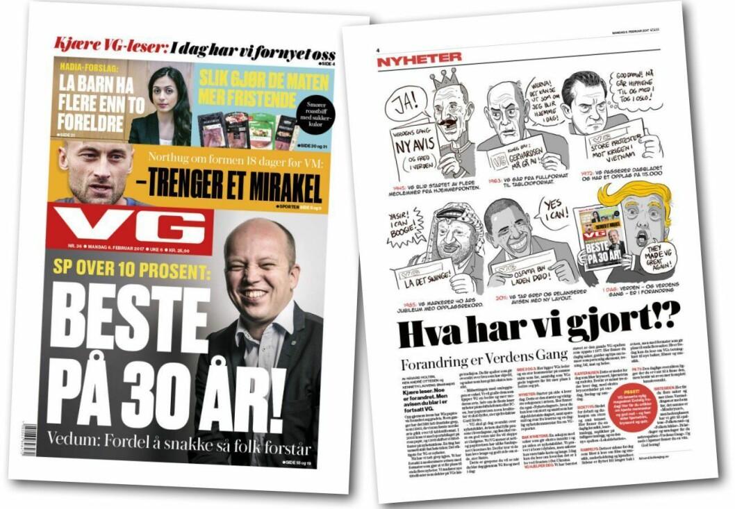 Dagens VG-forside - og en morsom presentasjon av hva som er nytt.