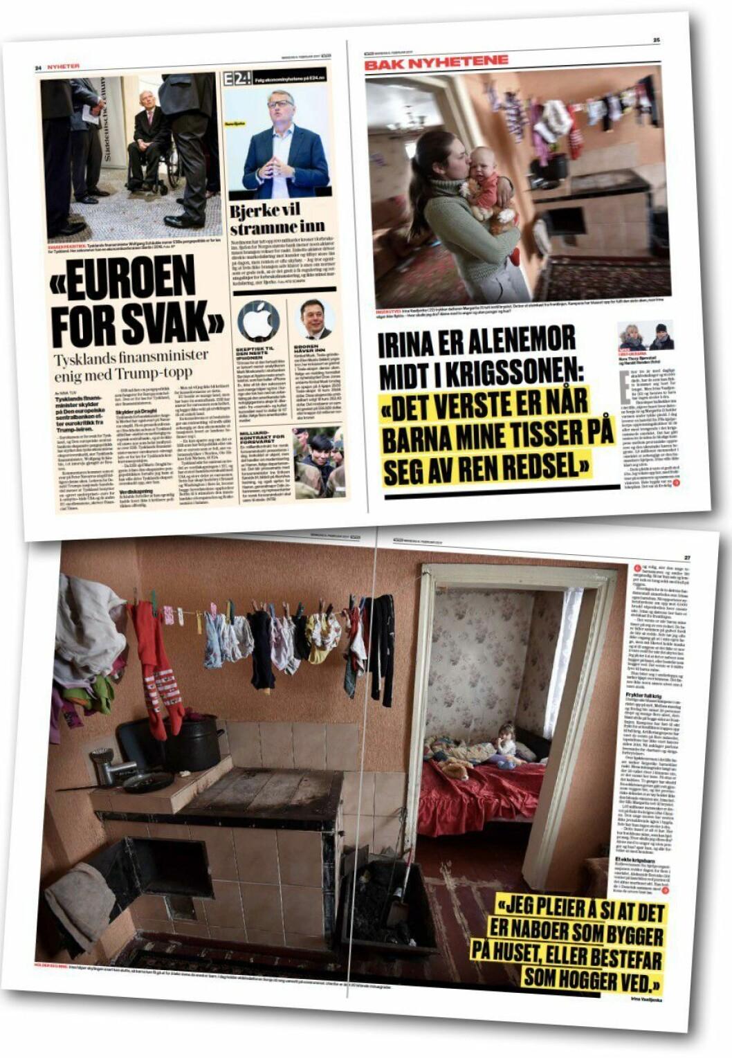 Fire sider som beskriver kombinasjon av oversikt og innsikt; en stramt redigert side med flere saker - og så en nyhetsreportasje over tre sider.