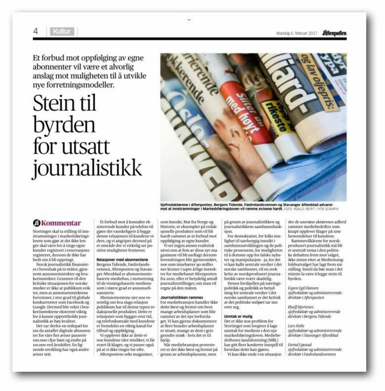 Redaktørenes kronikk i Aftenposten mandag.