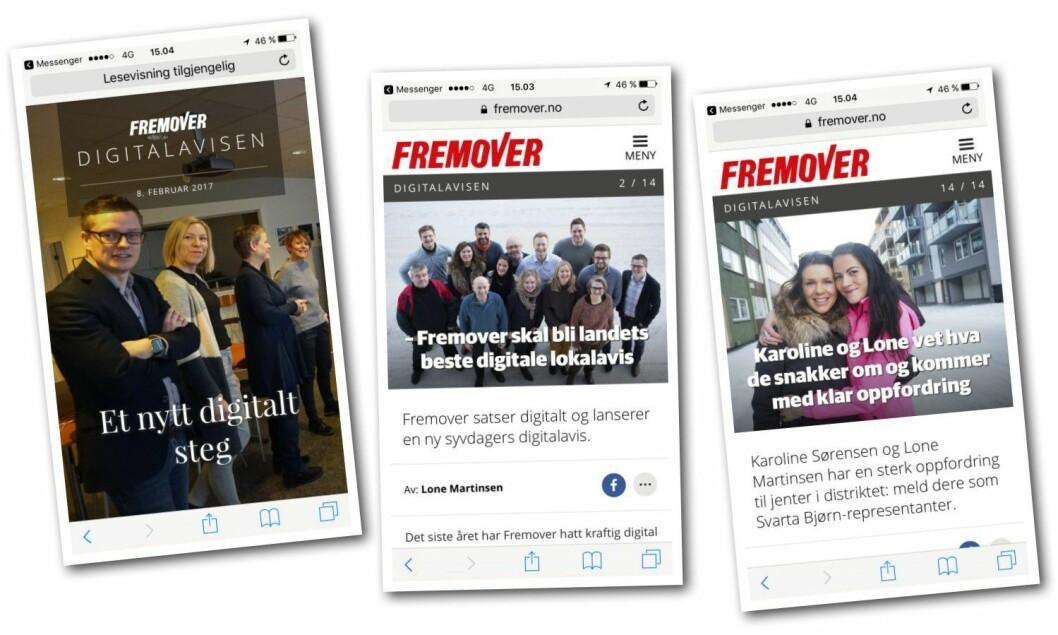 Fremover (og Amedias) nye digitale avis.