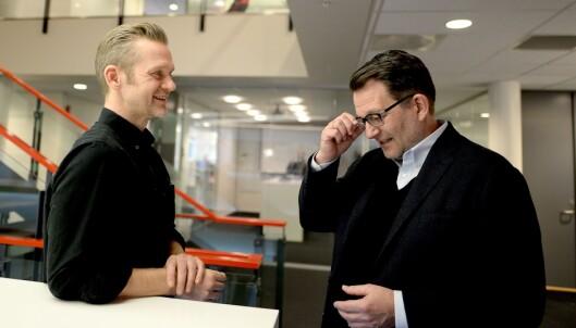 Tillitsvalgte Jon Hernæs sammen med tidligere toppsjef Harald Strømme.