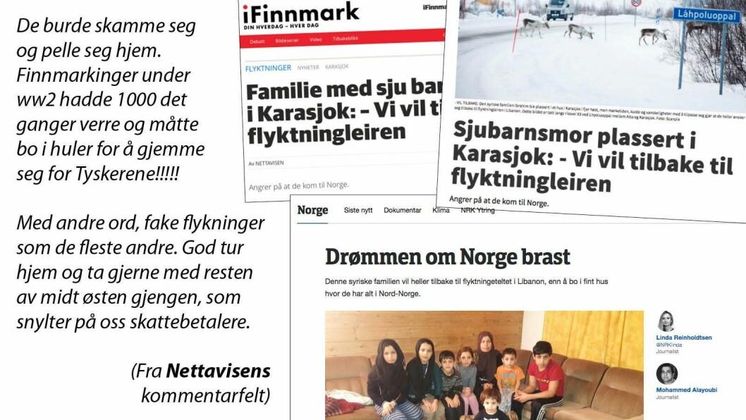 NRK, Nettavisen og iFinnmark sine saker til høyre - og til venstre noen av reaksjonene saken skapte.