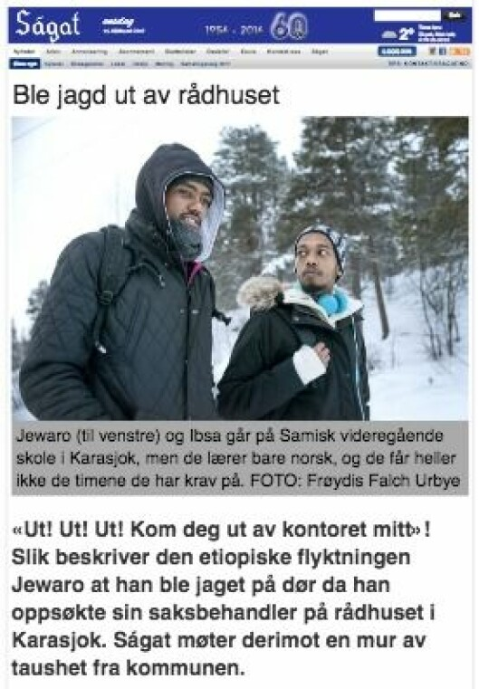 Ságat-sak fra januar om flyktningesituasjonen i Karasjok kommune.