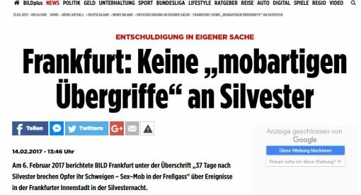Den tyske storavisen Bild skrev at 900 innvandrere antastet kvinner i Frankfurt. Nå beklager de den falske nyheten