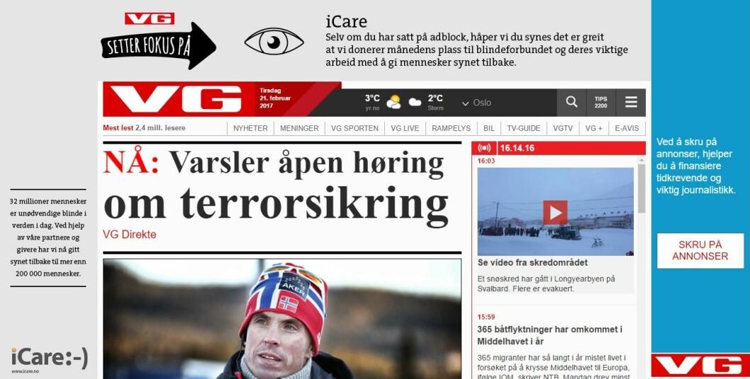 Skjermdump fra VG Nett viser at avisen har donert