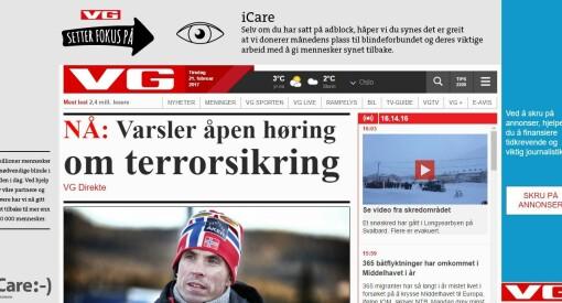 Dette synet møter norske Adblock-brukere når de besøker VG. Avisen ga gratis reklame til Blindeforbundet