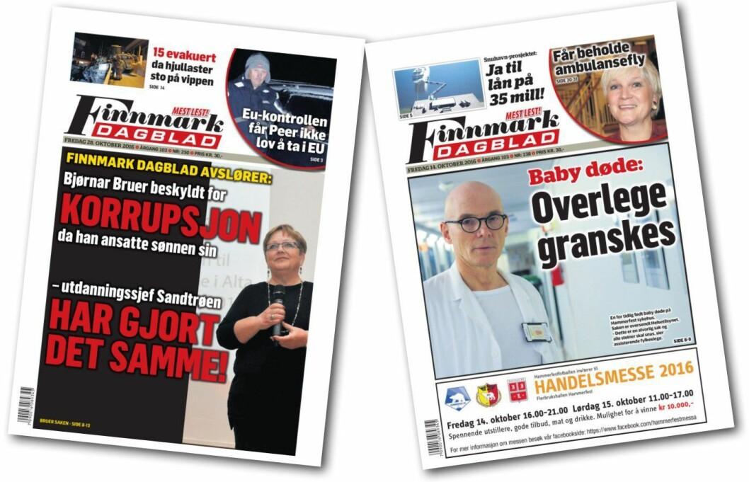 Disse to forsidene - begge fra oktober 2016 - skal nå diskuteres i PFU.