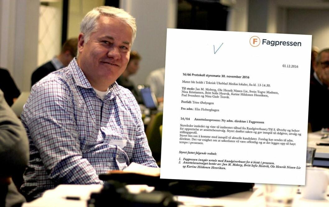 Leder Ole Henrik Nissen-Lie i ansettelsesutvalget i Fagpressen og dokumentet som beviser at styret hadde vedtak på offentlig søkerliste.
