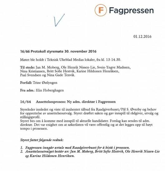 Fagpressens styreprotokoll fra 30. november 2016.