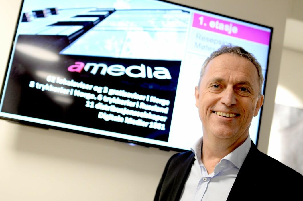 Are Stokstad, konsernsjef i Amedia. Bildet er tatt i forbindelse med resultatpresentasjon tidligere i år.