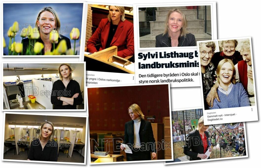 Et lite utvalg bilder av Sylvi Listhaug med kors rundt halsen fra årene 2000 til 2015.