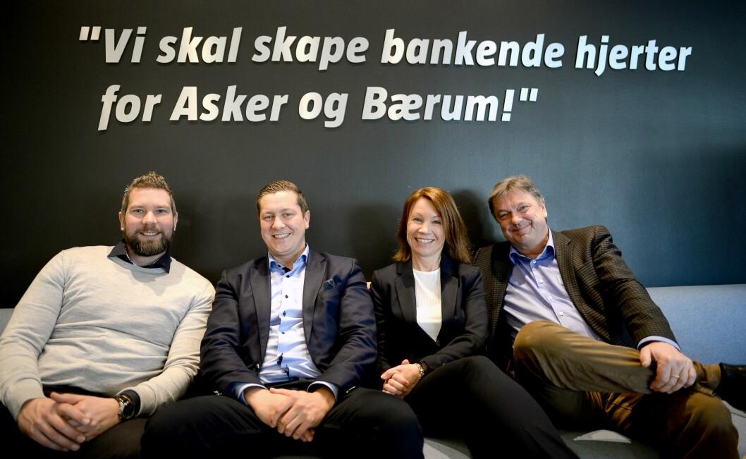 Budstikka-gjengen har en klar visjon! Fra venstre: Salgsdirektør Ulf Kvalvik, byråleder Thomas Dobloug-Holm, ansvarlig redaktør Kjersti Sortland og direktør Terje Tandberg.