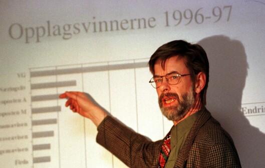 Nedgangen snudd - avisopplaget øker! Helge Holbæk-Hanssen i 1997.
