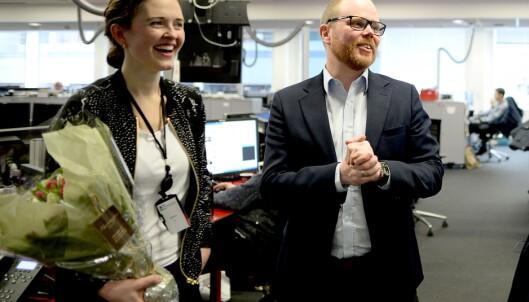 Nyhetsredaktør Tora Bakke Håndlykken og VG-sjef Gard Steiro.