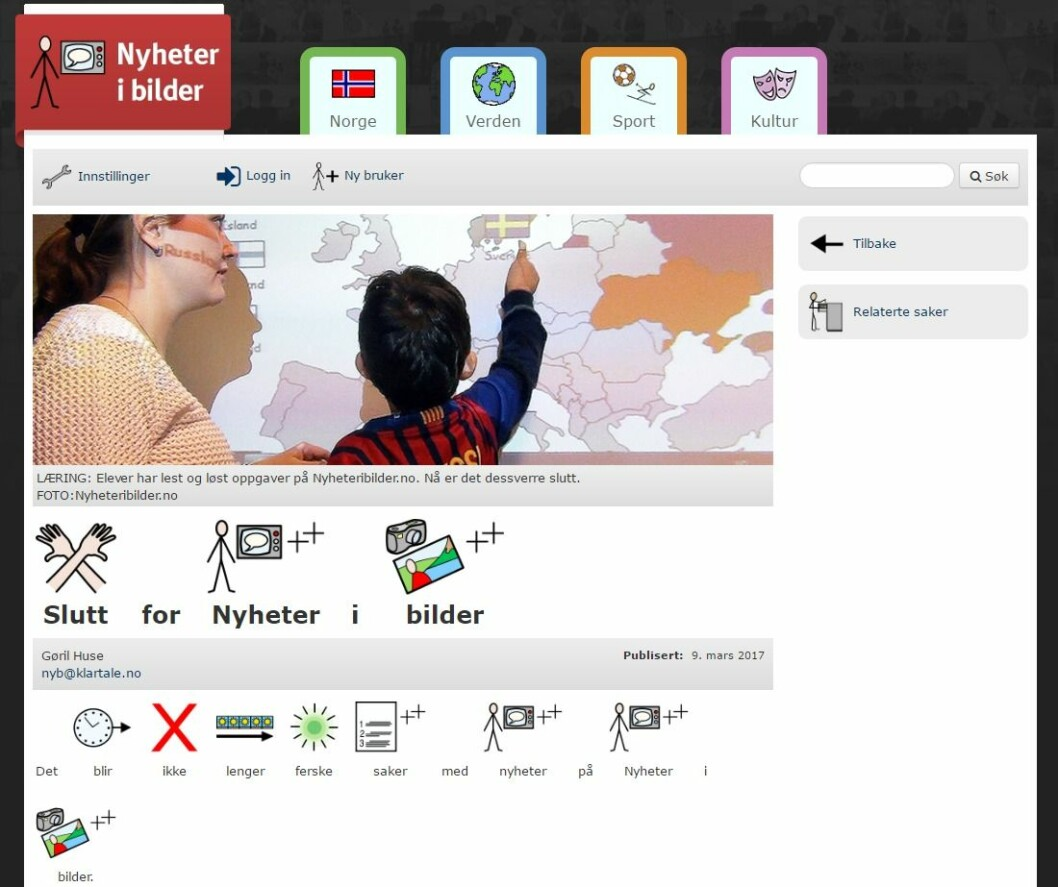 Nyhetsnettstedet Nyheteribilder.no var en satsing fra Klar Tale. Nå er den vedtatt nedlagt.