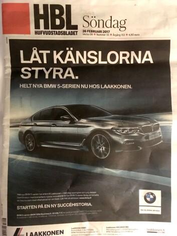 Kanskje kan det bli problematisk for HBL å lage en kritisk sak om det tyske bilvidunderet når de kjører BMW på hele forsiden? .
