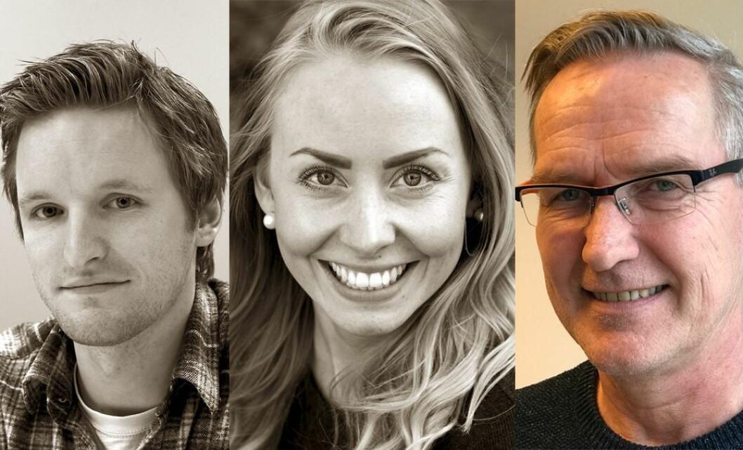 Fast ansatt: Journalist Ytre Namdal Jonas Olsen (29), journalist Lena Erikke Hatland (24) og Frode Buvarp (54), kreativ selger i Namdalsavisa