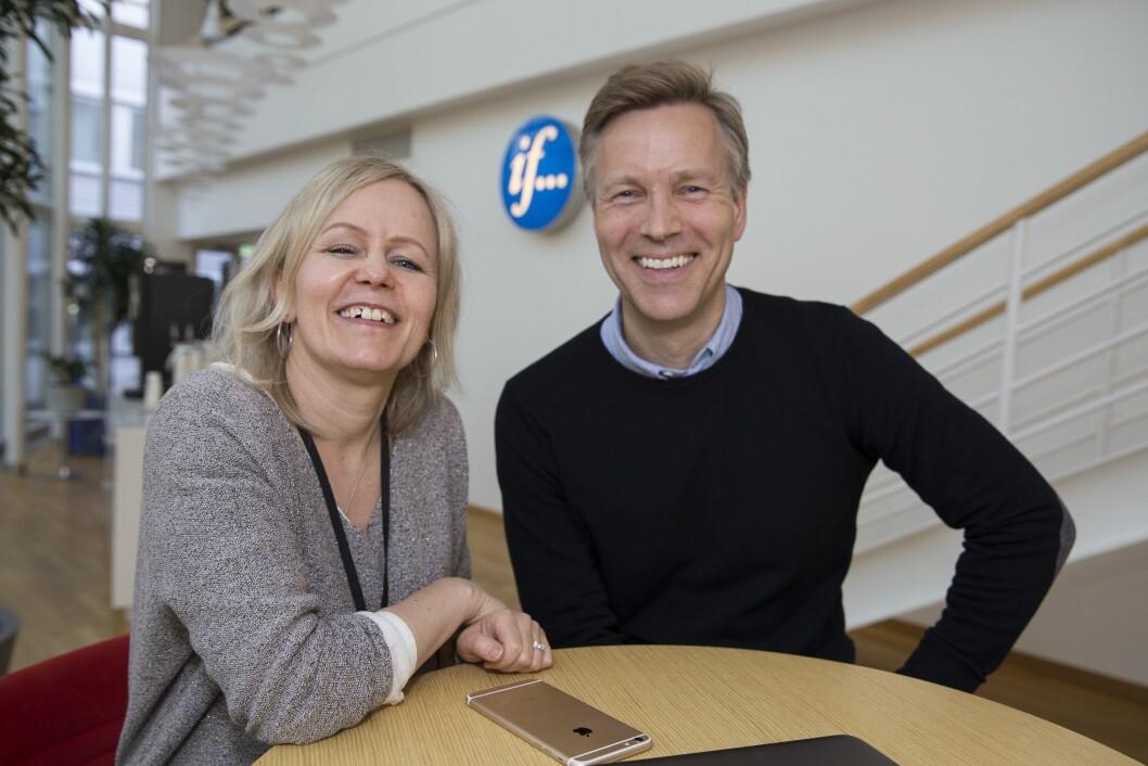 Kristin Grøntøft og hennes nye sjef, kommunikasjonsdirektør Jon Berge i If.