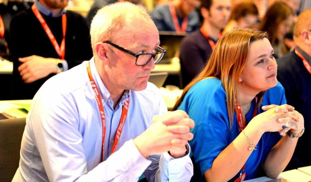 Avtroppende NJ-leder Thomas Spence og påtroppende leder Hege Iren Frantzen (nå nestleder). Frantzen er også styreleder i Journalisten.