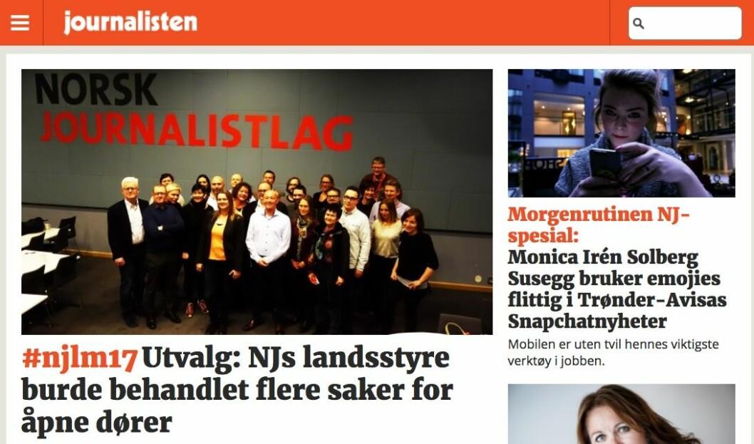 Forsiden på Journalisten.no tirsdag morgen.