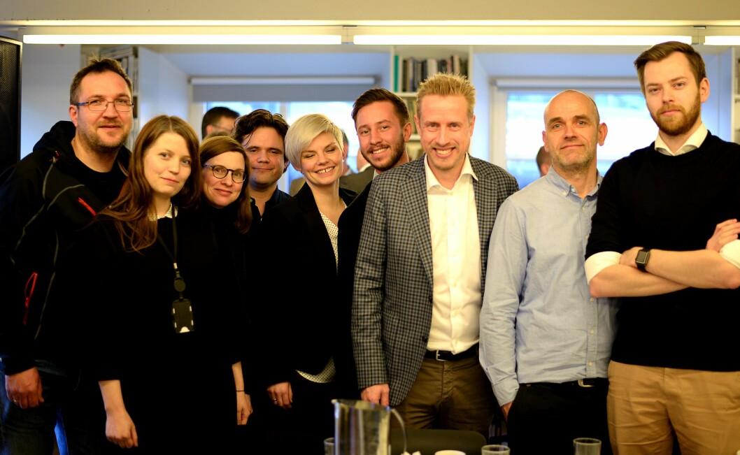 Her er prosjektgruppa som har utredet «Faktisk», og vil lansere i løpet av våren. Fra venstre: Ola Strømman, Dagbladet; Ingrid Reime, VG; Gunn Kari Hegvik, VG; Jari Bakken, VG; Silje Sjursen Skiphamn; Bjørn Reizer Johannesen, VG; Kristoffer Egeberg, Dagbladet; Tore Bergsaker, Dagbladet og Audun Aas, Dagbladet. Flere av disse vil snart jobbe på fulltid i det nye prosjektet.