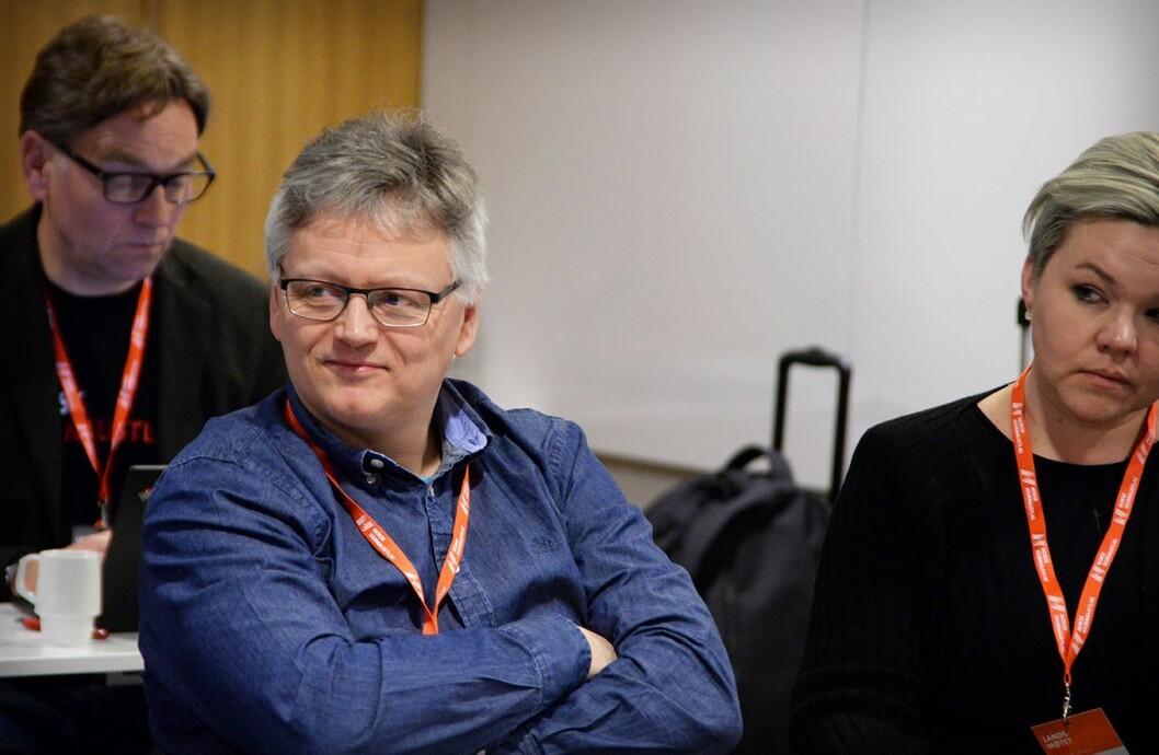 Håkon Okkenhaug, her under et landsstyremøte i Norsk Journalistlag våren 2017.