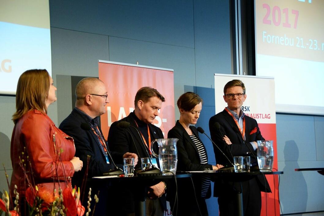 Debatt om mediemangfold på Norsk Journalistlag sitt landsmøte på Fornebu. Fra venstre: NJs Hege Iren Frantzen, KrFs Geir Jørgen Bekkevold, Høyres Kårstein Eidem Løvaas, Arbeiderpartiets Annette Trettebergstuen og Venstres Terje Breivik.
