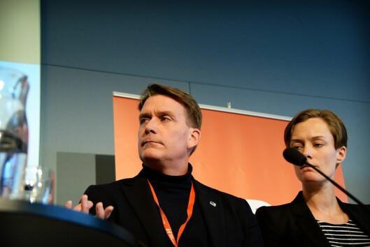 Kårstein Eidem Løvås fra Høyre og Anette Trettebergstuen i Arbeiderpartiet fra NJs landsmøte i Oslo