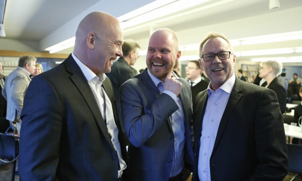 I mars presenterte NRK, VG og Dagbladet det historiske samarbeidet ‹Faktisk». Siden har TV 2 også blitt med på eiersiden. Fra venstre: Kringkastingssjef Thor Gjermund Eriksen, VG-sjef Gard Steiro og Dagbladets sjefredaktør John Arne Markussen.