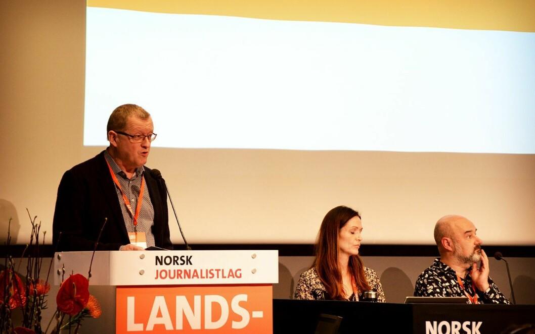 Finn E. Våga under Norsk Journalistlag sitt landsmøte på Fornebu i Bærum.