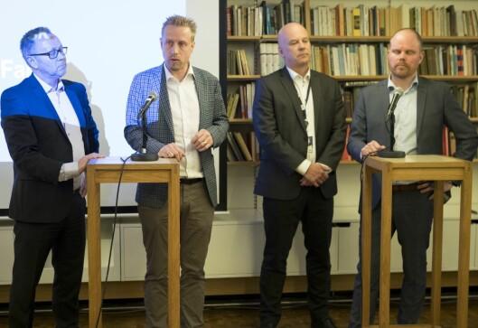 Fra pressekonferansen på Litteraturhuset tirsdag ettermiddag.