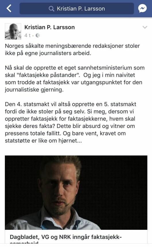 Larssons opprinnelige og nå slettede Facebook-post.
