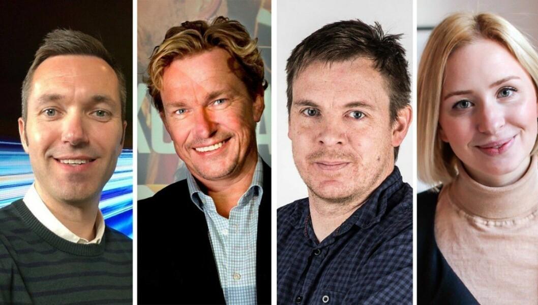 NRK Nyheter har hentet inn flere eksterne navn til å bekle lederroller i ny organisasjon. Disse er Marius Tetlie (fra venstre), Espen Olsen Langfeldt, Dan Kåre Engebretsen og Dyveke Sandtorp Nilssen.