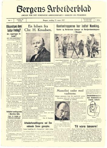 Slik så den aller første Bergens Arbeiderblad ut - i dag trykket opp på nytt.