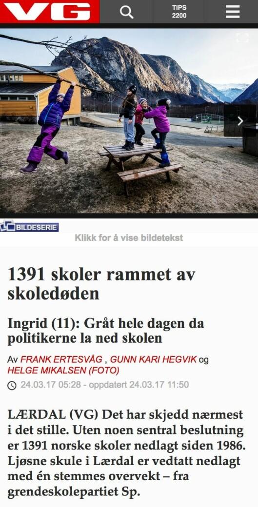 VG om skolenedleggelser «i det stille».
