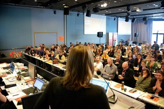 Hege Iren Frantzen holder tale til NJs landsmøte like etter hun ble valgt som leder.