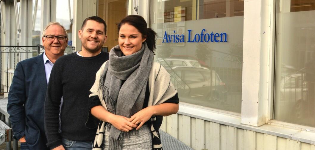 Avisa Lofoten - redaktør Benjamin Einarsen, daglig leder og marked Tore Solheim og journalist Maja Borgvatn Karlsen.