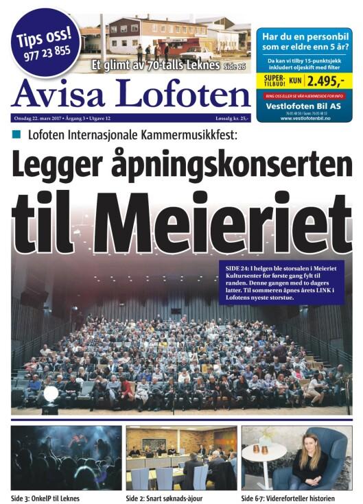 Denne ukas forside av Avisa Lofoten.