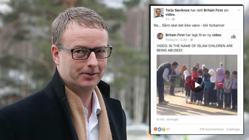 Olje- og energiminister Terje Søviknes får kritikk for å ha delt antiislamsk propaganda på Facebook.