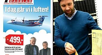 Ser du hva som er journalistikk og hva som er reklame på denne flyvende forsiden fra Finnmark Dagblad?