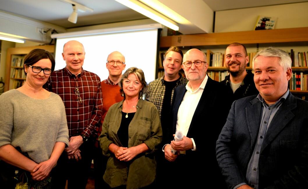 Fra venstre: Britt Sofie Hestvik, Svein-Yngve Madssen, Svein Åge Eriksen, Bjørnar Kjensli, Trine Østlyngen, Bjørnar Kjensli, Erik Nord, Paal Svendsen og Ole Henrik Nissen-Lie.