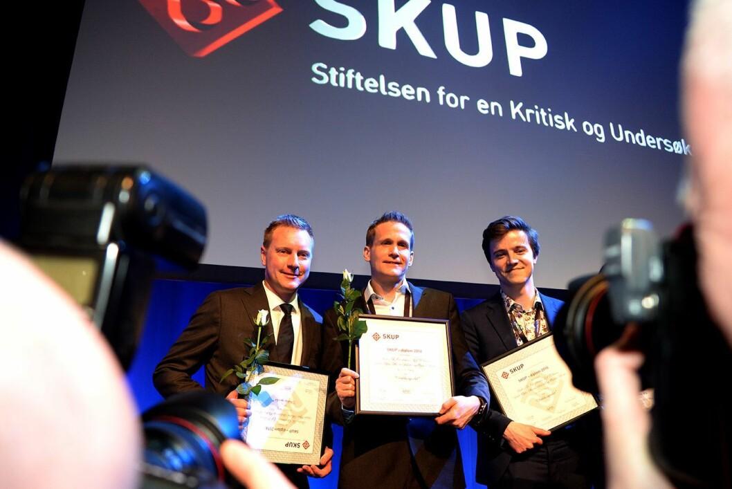 """VG-sportens prosjekt """"Åpenhet i idretten"""" fikk SKUP-diplom. Saken ble laget av journalistene Leif Welhaven, Anders K. Christiansen, Sindre Øgar, Morten Stokstad og Øystein Hernes."""