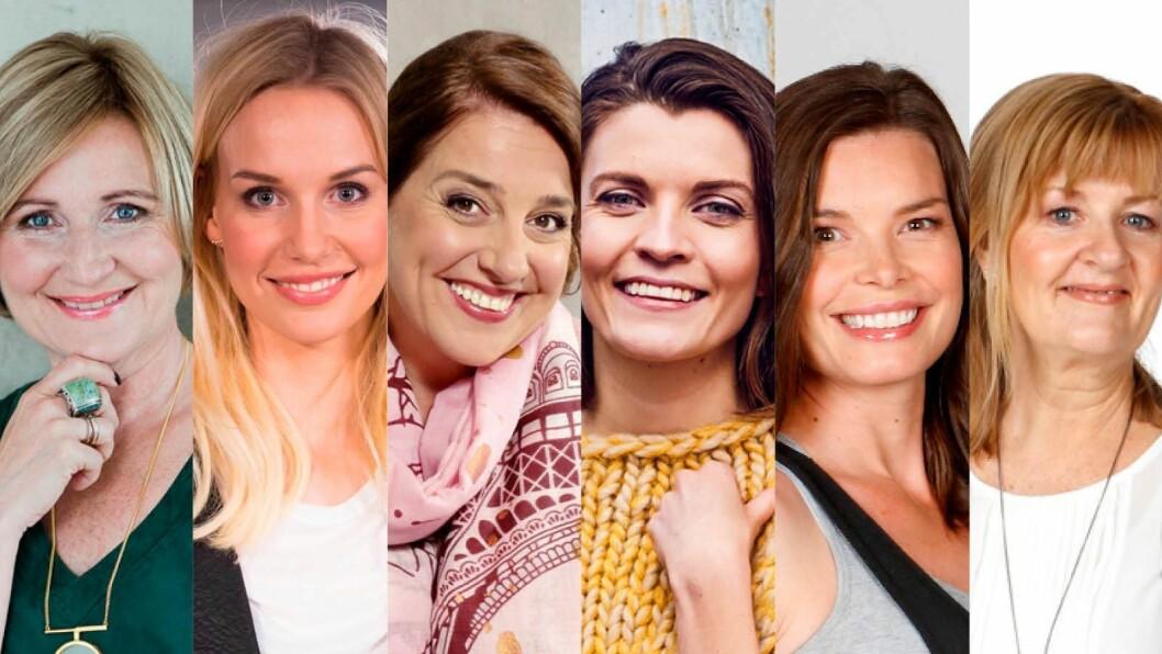 Egmont-redaktører, fra venstre: Elisabeth Lund-Andersen, Karine Thyness, Kjersti Moen, Madeleine Strand, Mari Midtstigen og Ingvild Hagen.