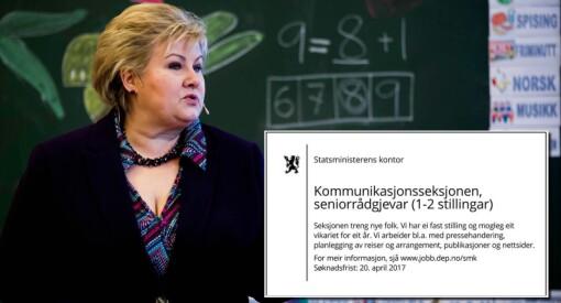 Hvor mange skrivefeil kan statsministerens kontor få plass til i én liten stillingsannonse på nynorsk?