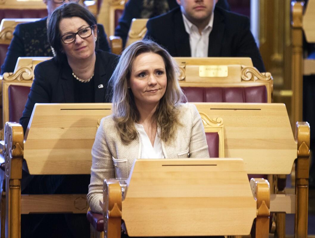 Barne- og likestillingsminister Linda Hofstad Helleland i Stortingets muntlige spørretime. Foto: Terje Pedersen / NTB scanpix