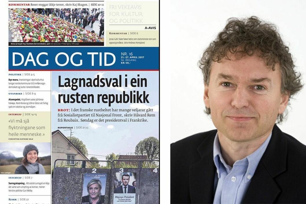 Redaktør Svein Gjerdåker og avisen Dag og Tid får Fritt Ords pris.